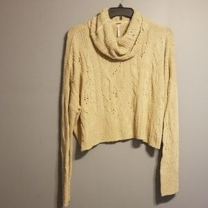Free People cropped cowl neck sweater size xl nwt